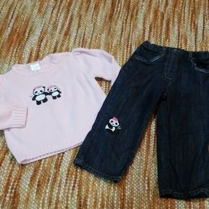 Girls 12 18 mth gymboree panda Jeans sweater set